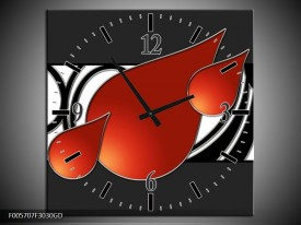 Wandklok op Glas Art | Kleur: Rood, Zwart, Wit | F005707CGD