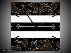 Wandklok op Glas Art | Kleur: Zwart, Wit | F005711CGD