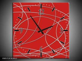 Wandklok op Glas Art | Kleur: Rood | F005713CGD