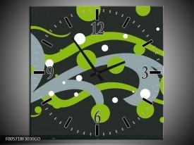 Wandklok op Glas Art | Kleur: Groen, Grijs | F005718CGD
