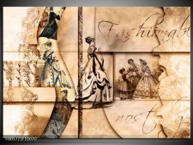 Foto canvas schilderij Vrouw | Bruin, Sepia