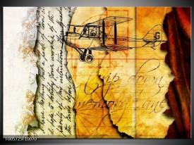 Foto canvas schilderij Vliegtuig   Geel, Zwart