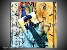 Wandklok op Glas Vrouw | Kleur: Blauw, Creme | F005727CGD