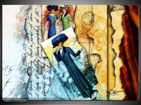 Glas schilderij Vrouw | Blauw, Crème