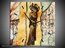 Wandklok op Glas Vrouw | Kleur: Bruin, Rood | F005729CGD