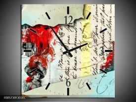 Wandklok op Canvas Art | Kleur: Rood, Creme | F005730C