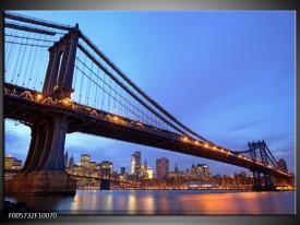 Glas schilderij New York   Blauw