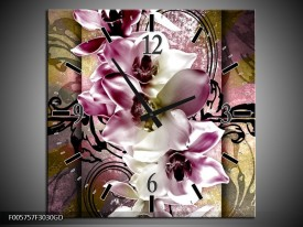 Wandklok op Glas Orchidee | Kleur: Paars, Wit | F005757CGD