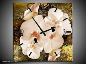Wandklok op Glas Orchidee | Kleur: Bruin, Goud, Creme | F005758CGD