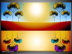 Glas schilderij Reflectie | Bruin, Geel, Blauw