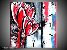 Wandklok op Glas Tulp | Kleur: Rood, Zwart, Wit | F005780CGD