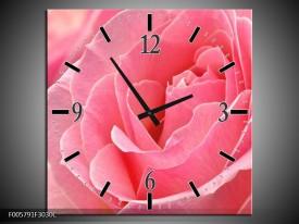 Wandklok op Canvas Roos | Kleur: Roze | F005791C