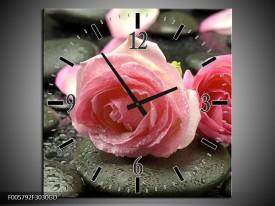 Wandklok op Glas Roos   Kleur: Roze, Grijs   F005792CGD