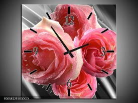 Wandklok op Glas Roos | Kleur: Grijs, Roze | F005812CGD