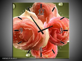 Wandklok op Glas Roos | Kleur: Groen, Roze | F005817CGD