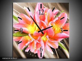 Wandklok op Glas Modern | Kleur: Sepia, Roze, Geel | F005819CGD
