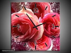 Wandklok op Glas Roos | Kleur: Roze, Paars, Wit | F005829CGD