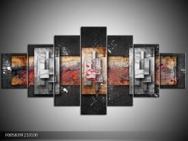 Canvas schilderij Modern | Grijs, Zwart | 210x100cm 7Luik