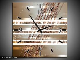 Wandklok op Glas Modern | Kleur: Goud, Bruin | F005840CGD