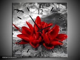 Wandklok op Glas Lelie | Kleur: Rood, Grijs | F005871CGD