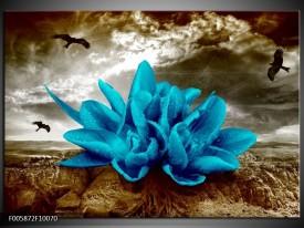 Glas schilderij Lelie | Blauw, Grijs