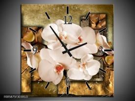 Wandklok op Glas Orchidee | Kleur: Bruin, Creme | F005875CGD