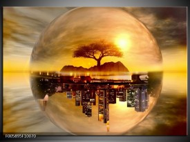 Foto canvas schilderij Wolkenkrabber | Goud, Bruin