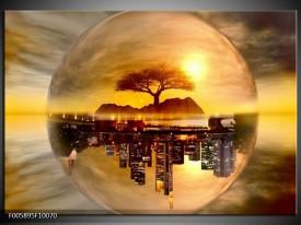 Glas schilderij Wolkenkrabber | Goud, Bruin