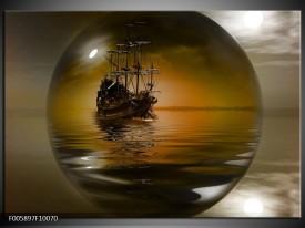 Glas schilderij Boot | Bruin, Grijs
