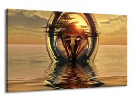 Glas schilderij Olifant | Goud, Bruin | 120x70cm 1Luik