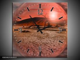 Wandklok op Glas Art | Kleur: Rood, Grijs | F005902CGD