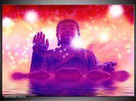 Glas schilderij Boeddha | Paars, Rood