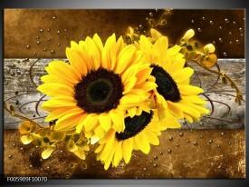 Foto canvas schilderij Zonnebloem | Geel, Bruin, Grijs
