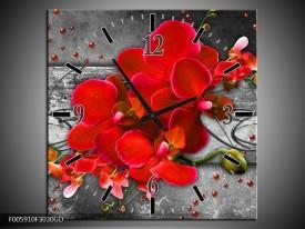 Wandklok op Glas Orchidee | Kleur: Rood, Grijs | F005910CGD
