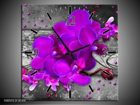 Wandklok op Canvas Orchidee | Kleur: Paars, Grijs | F005911C