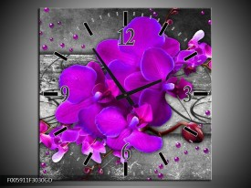 Wandklok op Glas Orchidee | Kleur: Paars, Grijs | F005911CGD