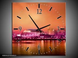 Wandklok op Glas Stad | Paars, Oranje, Grijs | F005922CGD