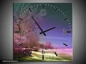 Wandklok op Glas Landschap | Groen, Blauw, Roze | F005926CGD