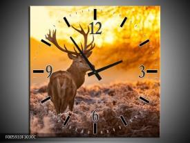 Wandklok op Canvas Hert | Kleur: Bruin, Geel | F005933C
