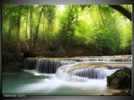 Foto canvas schilderij Waterval | Groen, Blauw, Grijs