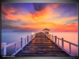 Foto canvas schilderij Brug | Paars, Oranje, Bruin