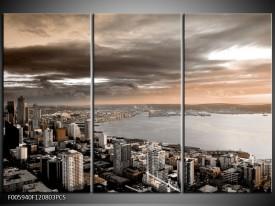 Canvas schilderij Stad | Grijs, Bruin, Crème | 120x80cm 3Luik
