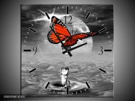 Wandklok op Canvas Vlinder | Rood, Grijs, Wit | F005958C