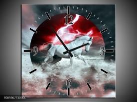Wandklok op Canvas Paard | Rood, Grijs, Wit | F005967C