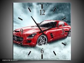 Wandklok op Glas Mercedes | Kleur: Wit, Rood, Zwart | F005978CGD