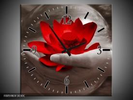 Wandklok op Canvas Bloem   Kleur: Rood, Sepia, Grijs   F005983C