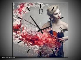 Wandklok op Canvas Muziek | Kleur: Rood, Grijs | F005987C