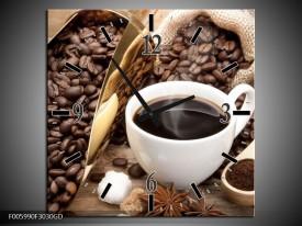 Wandklok op Glas Koffie | Kleur: Bruin, Wit, Goud | F005990CGD
