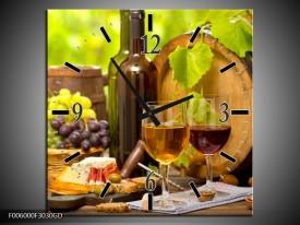Wandklok op Glas Wijn | Kleur: Groen, Bruin | F006000CGD