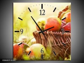 Wandklok op Canvas Appels | Kleur: Groen, Rood, Bruin | F006007C